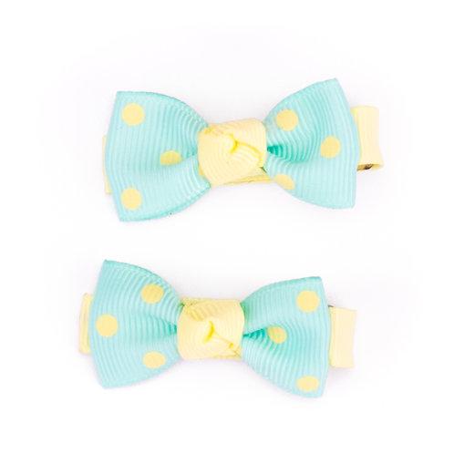 Bow Tie Bows Polka Dot Lemon on Aqua