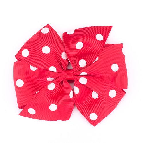 Large Polka Dot Pinwheel Bow Red