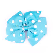 Bright Blue Large Polka Dot Pinwheel Hair Bow