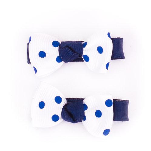 Bow Tie Bows Polka Dot Navy on White