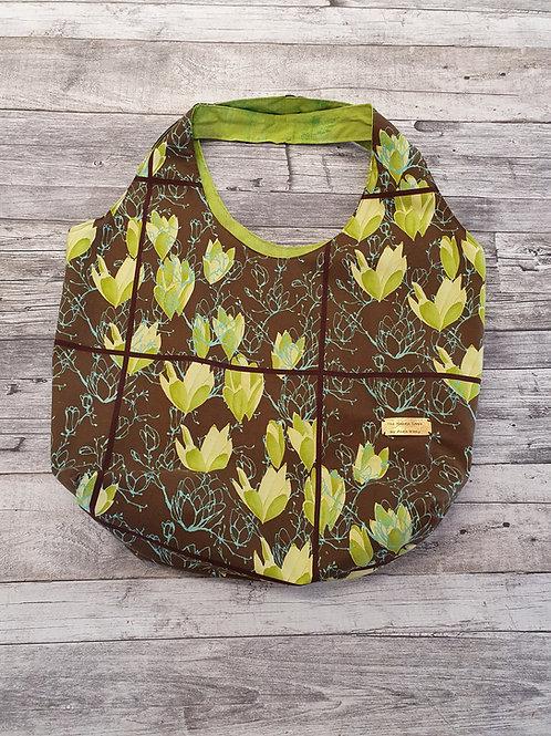 Stofftasche, braun/ grün,  Frühling, Maße ca. 55x40x16cm
