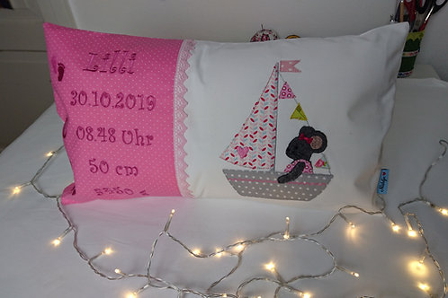 Namenskissen mit Geburtsdaten, 50x30 cm, inkl. Innenkissen, individuelles Kissen