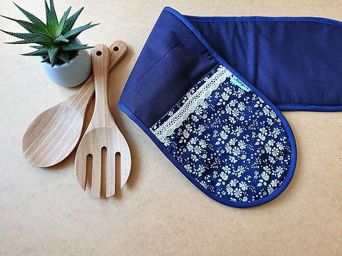 Backofenhandschuhe blau, Topflappen doppelseitig, 78cm lag und 18cm breit,