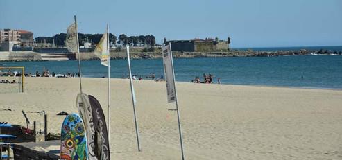 View of the beach, Porto's City Park and Queijo castle