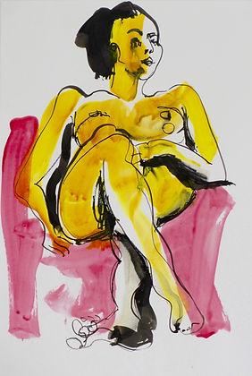 nude lady painting pink yellow