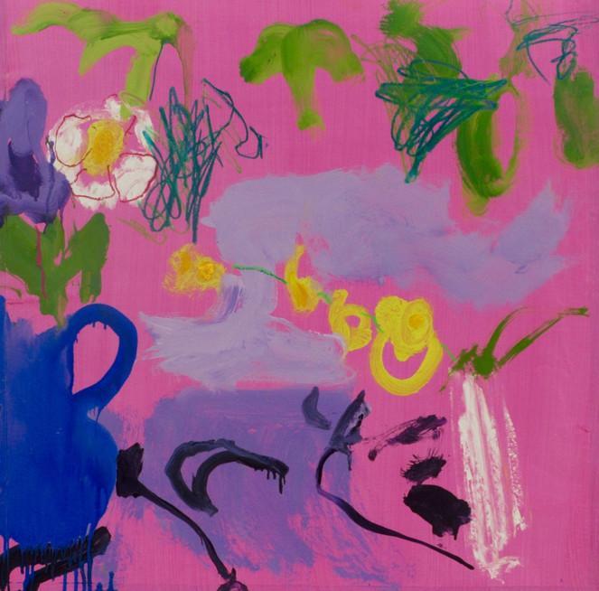 Pink Floribunda SOLD Mixed Media 82 x 79 cm