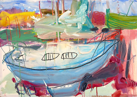 BOAT Painting oil on board sophie bartlett hampshire