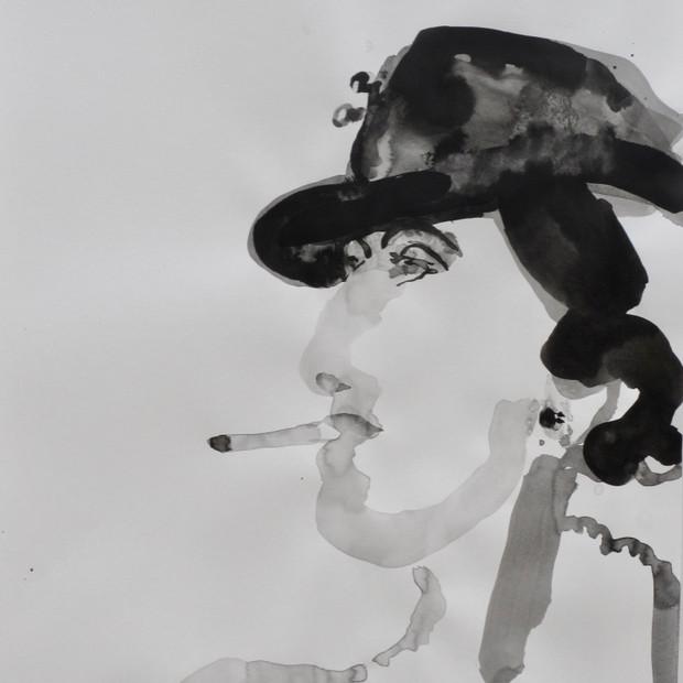 Smoking Lady V Ink on Paper 42 x 60 cm