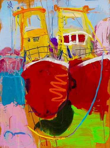 Sophie BArtlBeamers  Oil on paper with collage SOLD.tt Artist Sophi Bartlett Boats colour painting