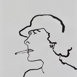 Smoking Lady Ink on paper 42 x 60 cm
