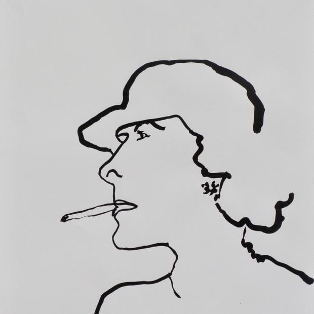 Smoking Lady Ink on paper 42 x 60 cm