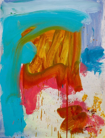 sophe brtlett artist abstract colour blue red oil on board