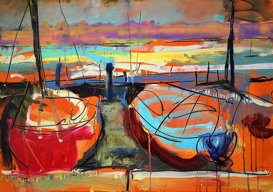 Sophie Bartlett Painting oil oDell Quay Boats, Grey Sky DSC_2358.jpg board