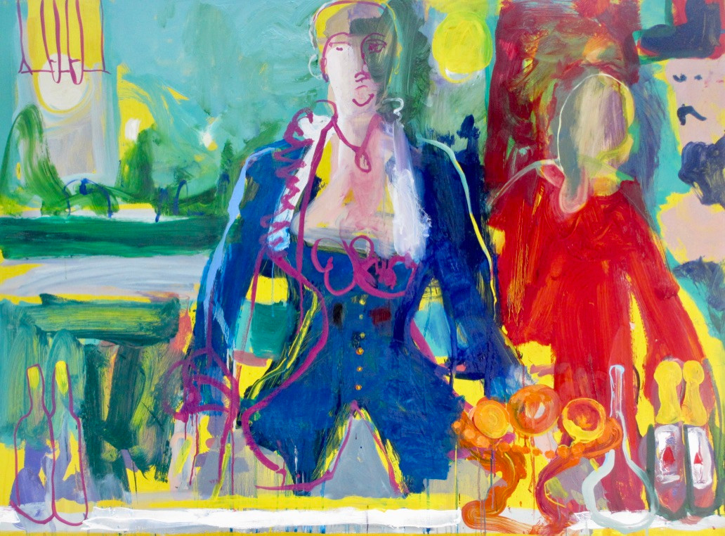 Bar at Folies Begeres SOLD Oil on Paper 100 x 136 cm