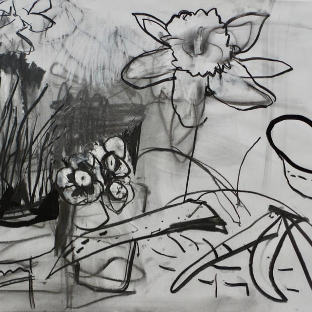 Floribunda Drawing Mixed Media 60 x 84 cm