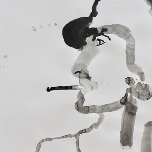 Smoking Lady III  Ink on Paper  42 x 60 cm