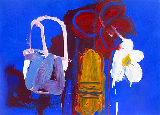 Red Flower Oil on Paper 58 x 65 cm sophie bartlett artist east hampshre abstract