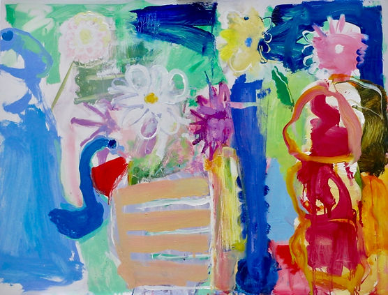Coffee Pot and Dahlias Oil on Board 80 x 61 cm Framed Size 97 x 79 cm sophi bartlett artist east hampshire abstract