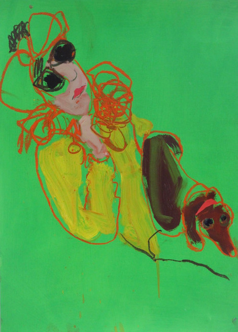Annabelle and Letto, Green Mixed Media 42 x 60 cm