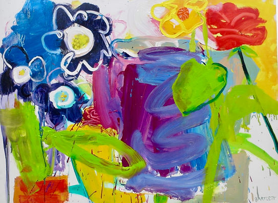 Spring Flowers SOLD Oil on Board 98 x 72 cm sophie bartlett artist abrstact painting
