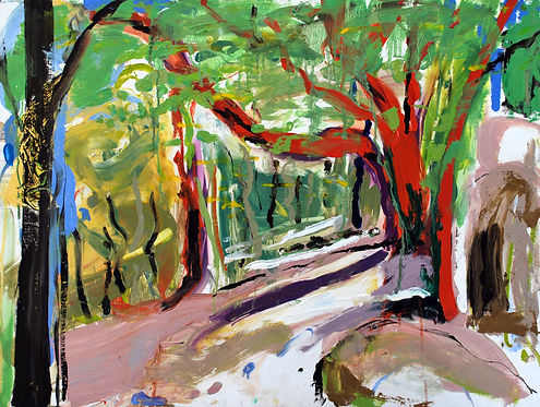 Spring_Beech_at_Luxulyan_1_DSC_1745•.jpg sophe bartlett artist hampshre trees woodland adventure walk nature colour oil on board