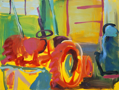 Tractor 1 oil on board painting colour sophie bartlett artist