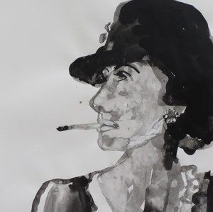 Smoking Lady VI Ink on paper  42 x 60 cm