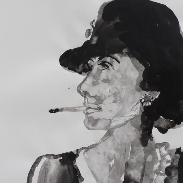 Smoking Lady VI Ink on paper  42 x 60 cm