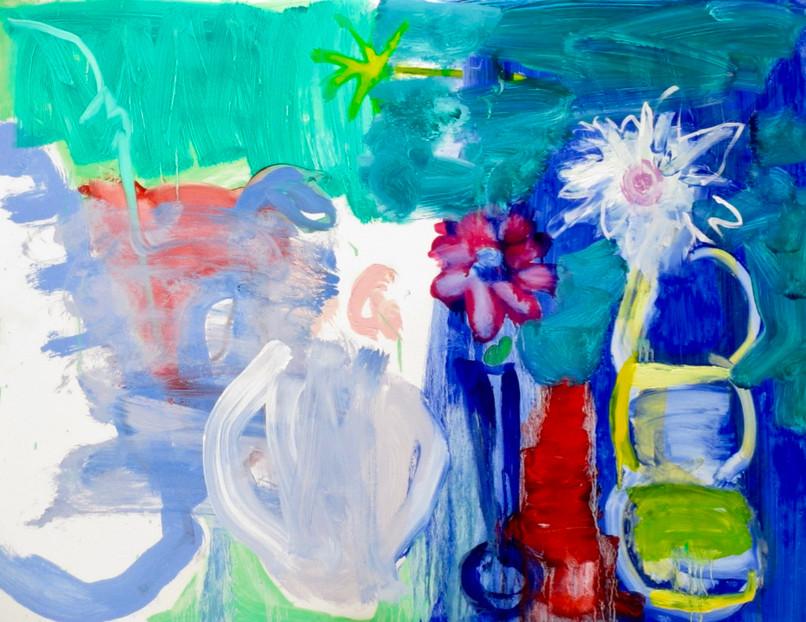Coffee Pot and Dahlia's III Oil on Board 80 x 61 cm