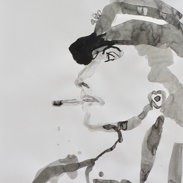 Smoking Lady IV    Ink on Paper 42 x 60 cm