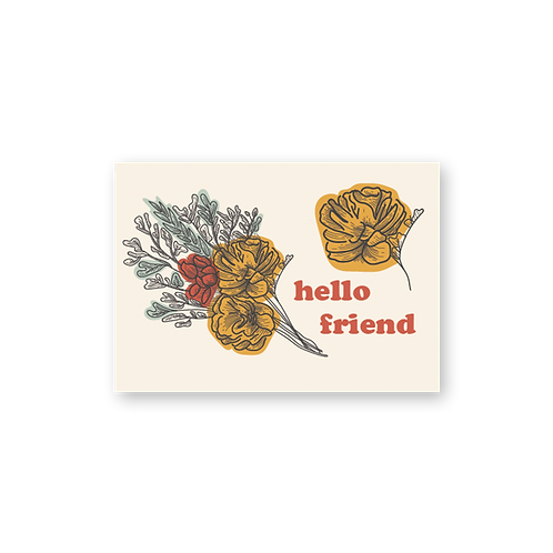 Hello Friend Bouquet Postcard