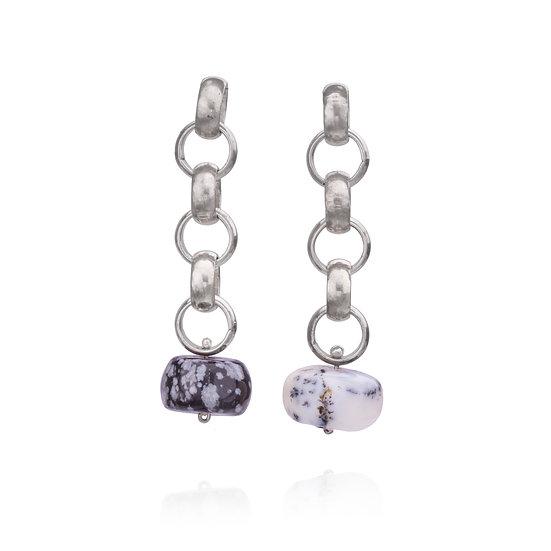 Silver Chain & Agate Earrings