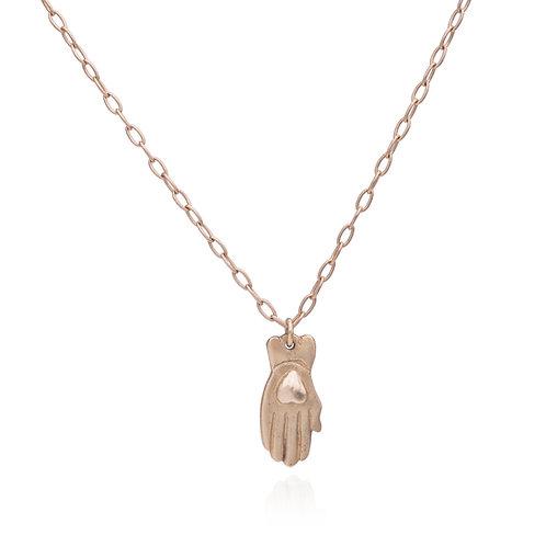 Gold Hamsa Heart Necklace