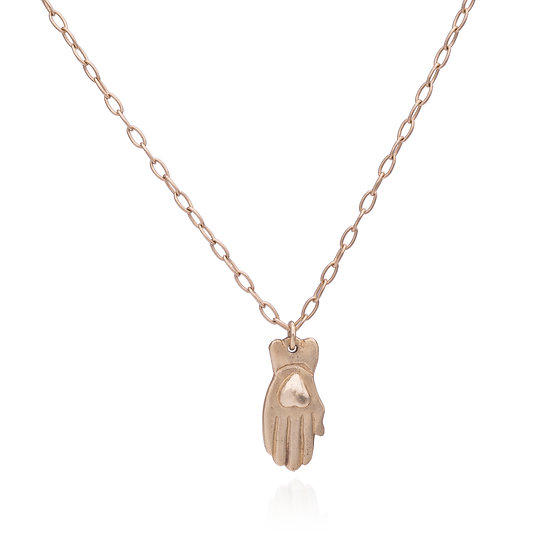 Gold Hamsa Heart Necklace