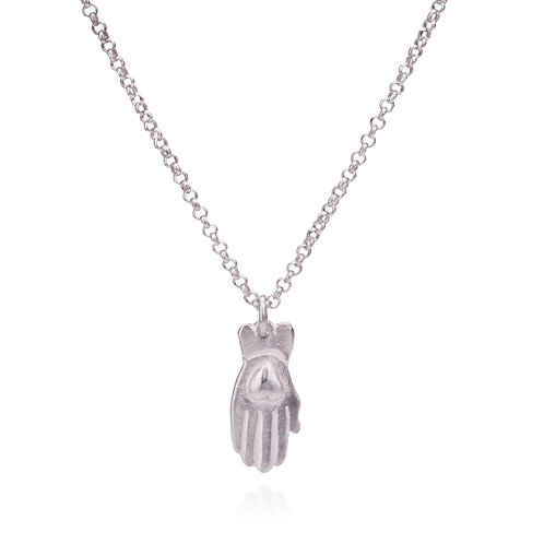 Silver Hamsa Heart Necklace