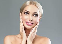 Beautiful woman face cosmetic concept la