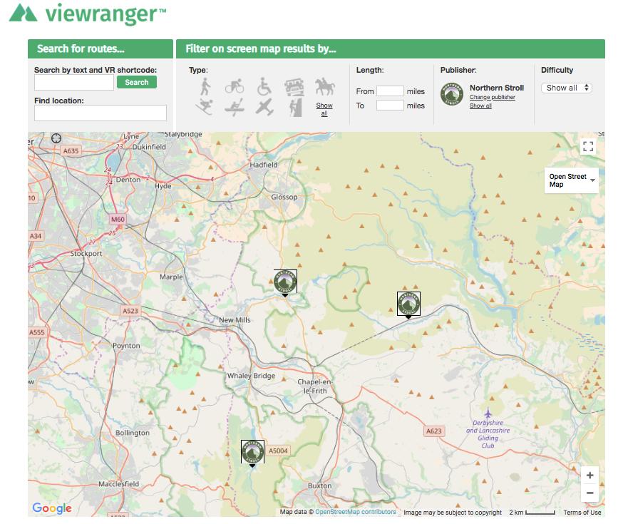 ViewRanger search function