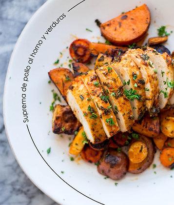 Suprema de pollo al horno con Verduras