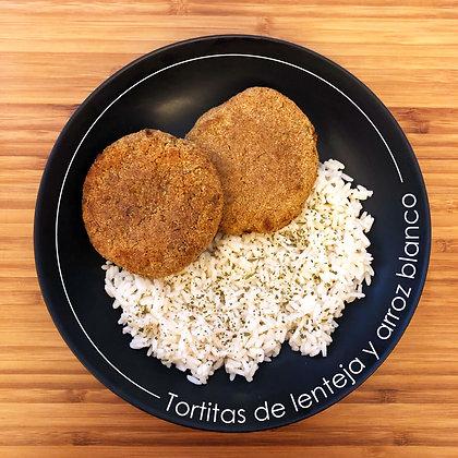 Tortitas de lentejas con arroz blanco