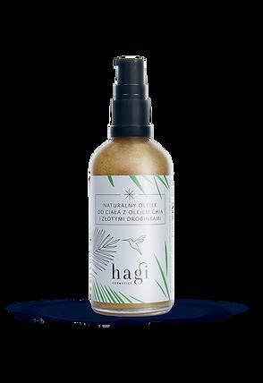 Naturalny olejek do ciała z olejem chia i drobinkami złota