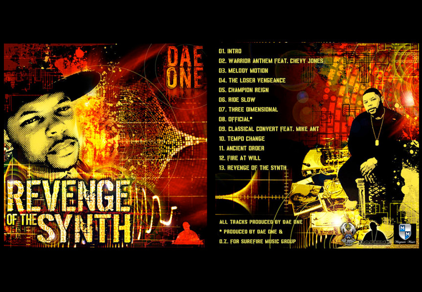 "Cover art design for record producer Dae One: ""Revenge of the Synth"""