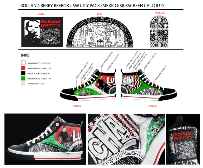 Graphic development & technical design for Rolland Berry: Reebok (City Pack: Mexico City)