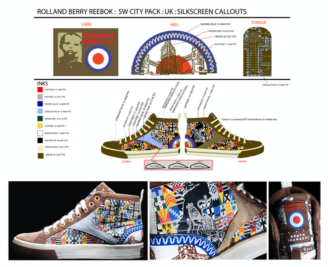 Graphic development & technical design for Rolland Berry: Reebok (City Pack: London)