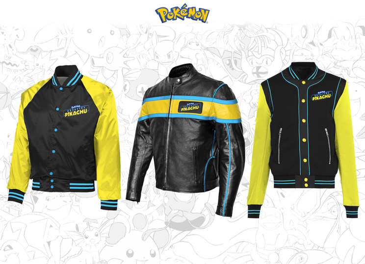 Jackets design concepts inspired by the 2019 Pokémon Detective Pikachu film.