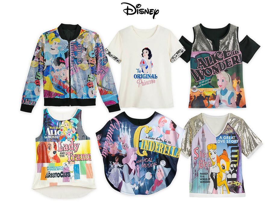 Art development & design of merchandised collection of women's vintage Disney film property themed tops sold at Disney Parks & Resort and shopdisney.com