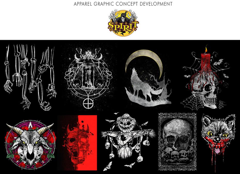 Apparel graphic concept development for Spirit Halloween.