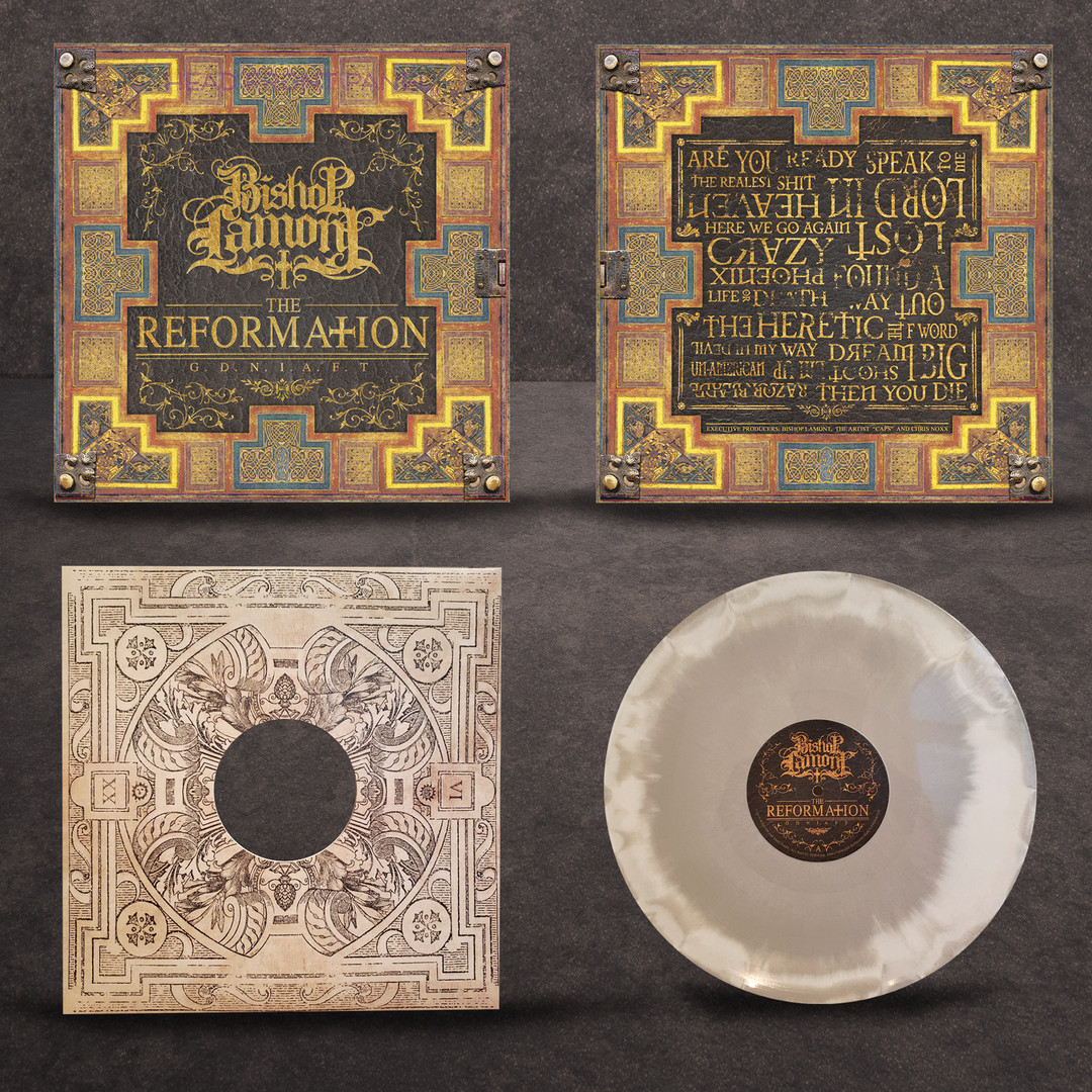 "Art Direction: Vinyl package design for recording artist Bishop Lamont's 2016 album release, ""The Reformation: G.D.N.I.A.F.T"" (front / back / sleeve / vinyl)"