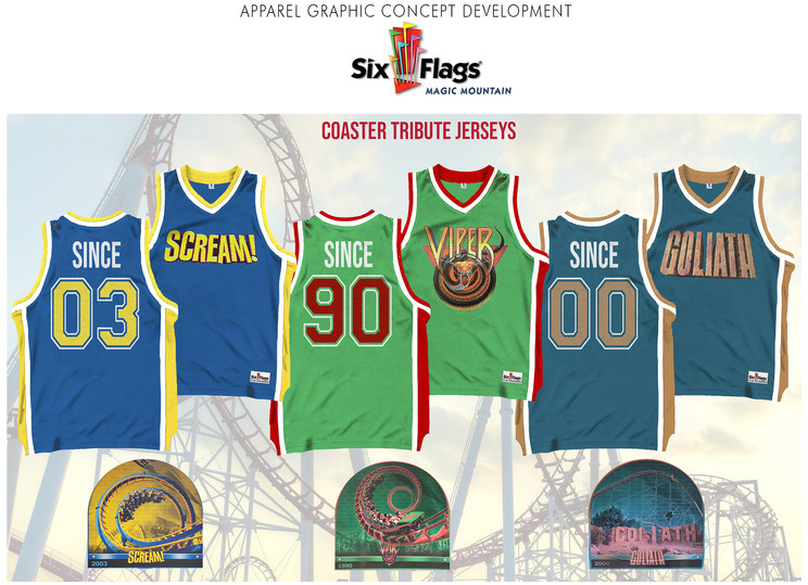 Merchandised tribute jersey collection inspired by Six Flags legacy attractions.