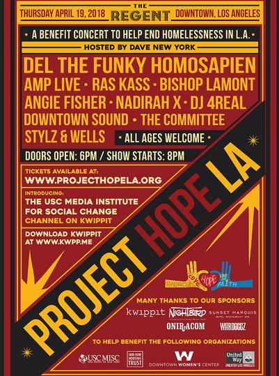 Poster design for Project Hope LA homeless benefit concert at the Regent Theater, 2018.