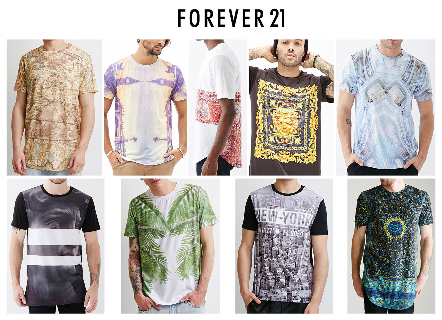 Graphic/body development and fabric sourcing for 21 Men. Sold at Forever 21 retail stores and online.